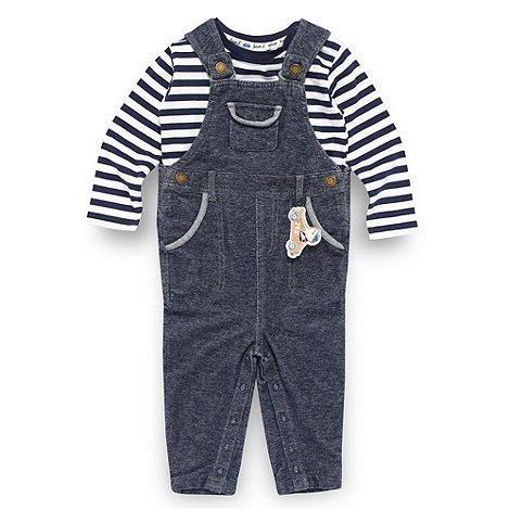 J by Jasper Conran - Designer babies navy dungarees and striped top set
