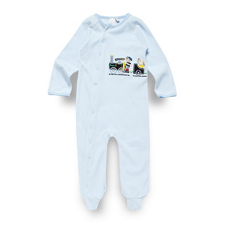 J by Jasper Conran - Designer babies blue applique train sleepsuit