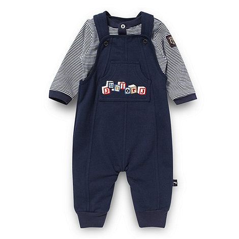 J by Jasper Conran - Designer babies navy building block dungarees and striped top