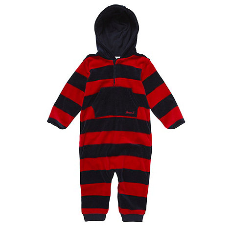 J by Jasper Conran - Designer babies navy velour romper suit