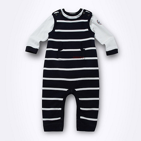 J by Jasper Conran - Designer babies navy striped dungarees and bodysuit