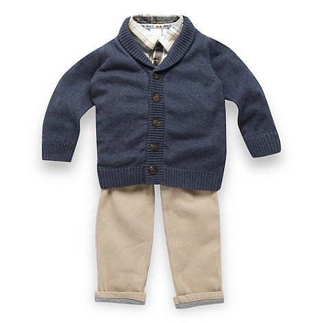 J by Jasper Conran - Designer babies navy cardigan, shirt and trousers