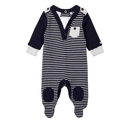 J by Jasper Conran - Designer babies navy striped dual neck sleepsuit