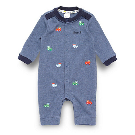J by Jasper Conran - Designer babies blue embroidered romper suit