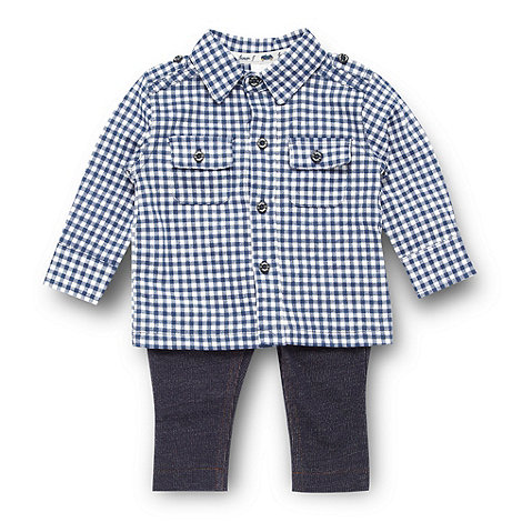 J by Jasper Conran - Designer babies navy gingham shirt and sweat trousers