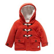 Designer babies dark orange fleece lined duffle coat