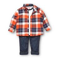 Designer babies checked shirt, t-shirt and jeans set