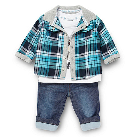 RJR.John Rocha - Designer babies blue woven checked shirt set