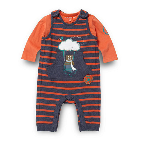 RJR.John Rocha - Designer babies navy marl striped dungarees and top