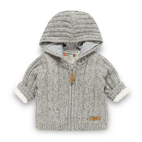 RJR.John Rocha - Designer babies grey fleece lined cable knit cardigan