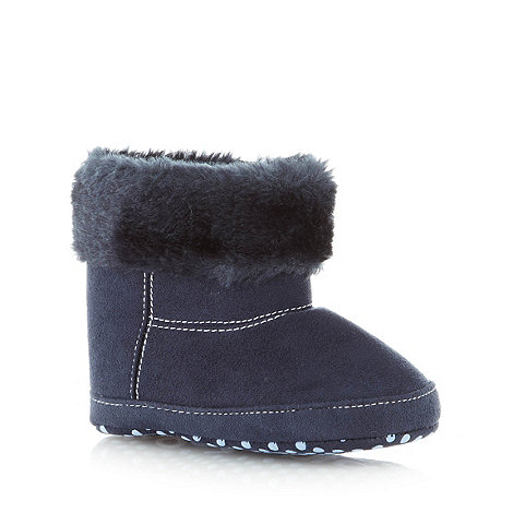 bluezoo - Babies navy faux fur trimmed booties