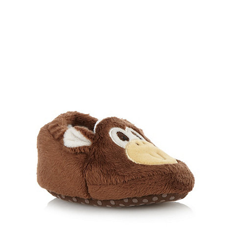bluezoo - Babies brown faux fur monkey slippers