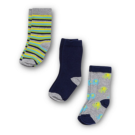 bluezoo - Babies pack of three grey and navy elephant socks
