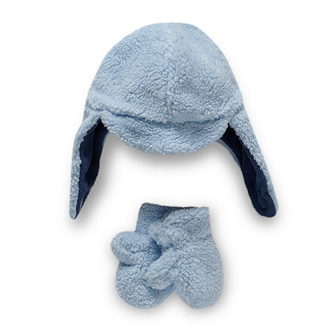 bluezoo - Babies pale blue fleece trapper hat and mittens set