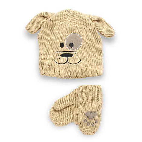 bluezoo - Babies brown dog hat and mittens