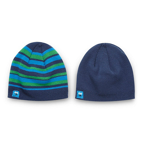 bluezoo - Babies pack of two blue beanie hats