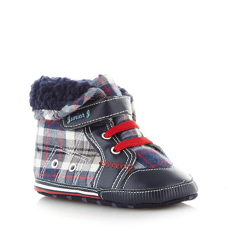 J by Jasper Conran - Designer babies navy checked booties