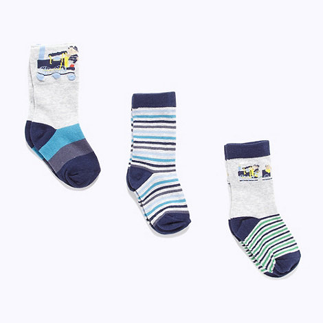 J by Jasper Conran - Designer babies pack of three grey train socks