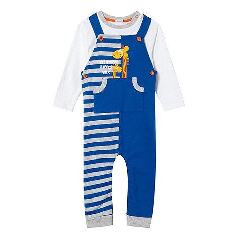 bluezoo - Babies blue giraffe dungarees set