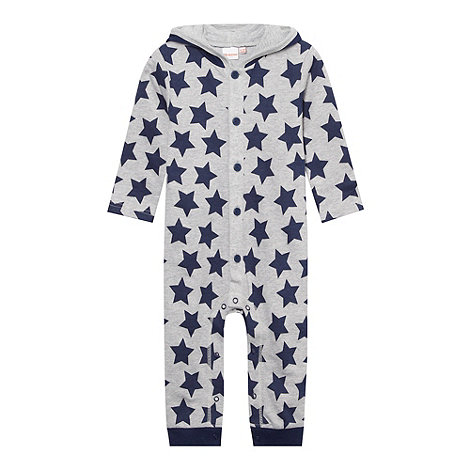 bluezoo - Babies grey hooded star printed romper suit