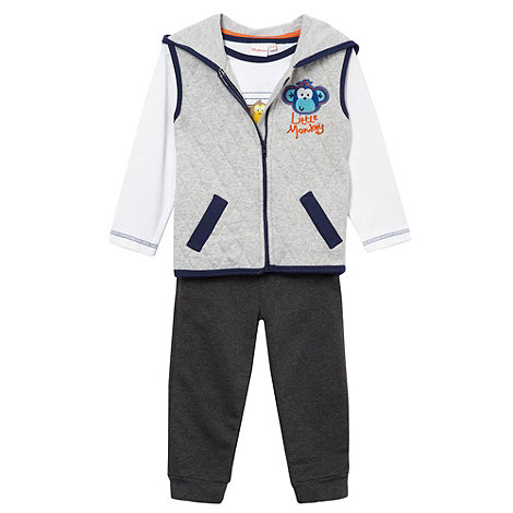 bluezoo - Babies grey quilted monkey gilet top and bottoms set
