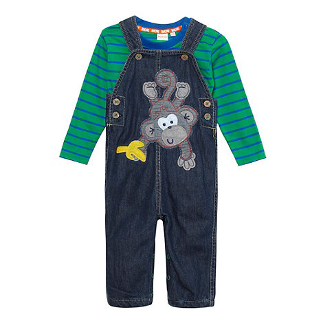 bluezoo - Babies blue striped monkey dungarees and top