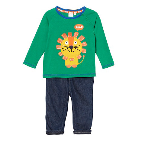 bluezoo - Babies green lion top and jeans set