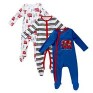 Babies pack of three blue zoo bus sleepsuits