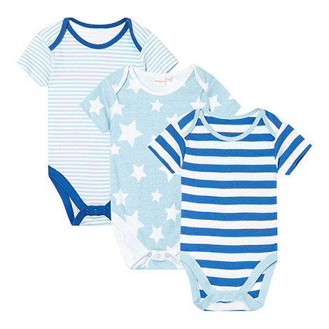 bluezoo - Babies pack of three blue striped and stars bodysuits