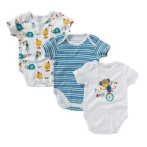 bluezoo - Pack of three babies white circus bodysuits