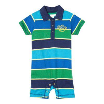 bluezoo Babies blue block striped polo romper suit - . -