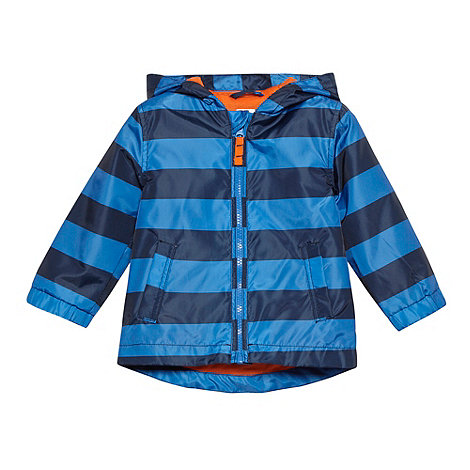 bluezoo - Babies blue block striped hooded coat