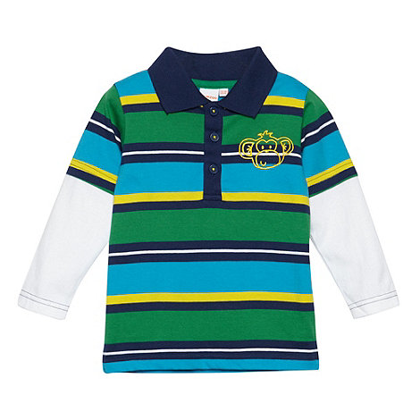 bluezoo - Babies navy multi striped mock dual sleeve polo top