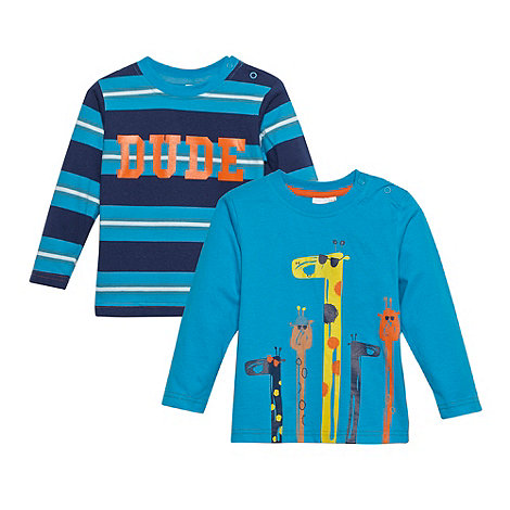 bluezoo - Babies pack of two blue striped and giraffe printed tops