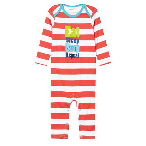 bluezoo - Babies red striped slogan print sleepsuit