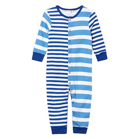 bluezoo - Babies blue striped footless sleepsuit with bib