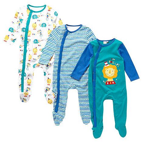 bluezoo - Babies set of three green circus sleep suits