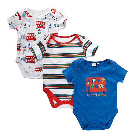 bluezoo - Babies pack of three blue bodysuits