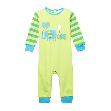 bluezoo - Babies green elephant printed footless sleepsuit