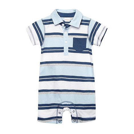 bluezoo - Babies light blue block striped romper suit