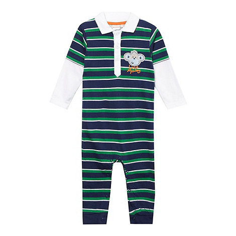 bluezoo - Babies navy striped monkey romper suit