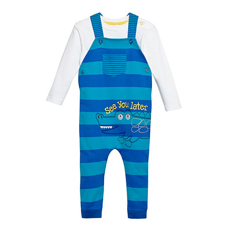 bluezoo - Babies blue striped alligator dungarees and top