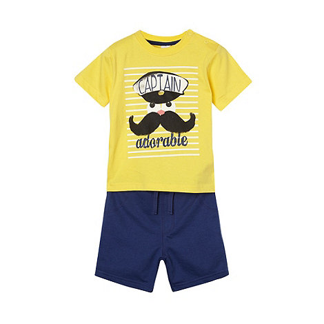 bluezoo - Babies yellow captain printed t-shirt and shorts set