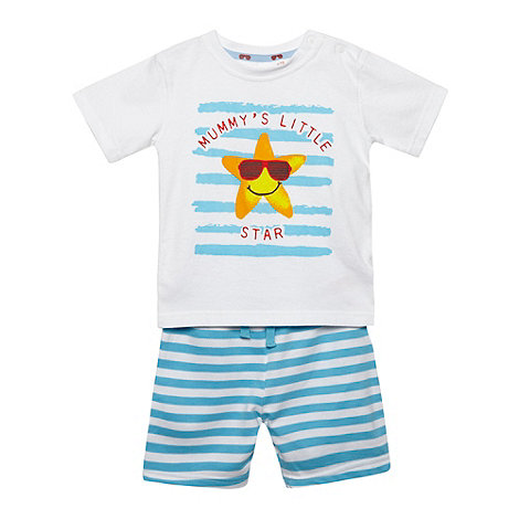 bluezoo - Babies blue starfish printed t-shirt and shorts set