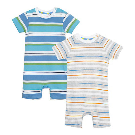 bluezoo - Pack of two babies blue striped romper suits