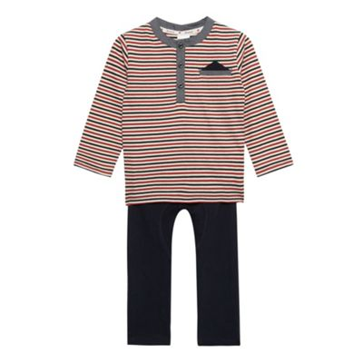 Babies striped hanky t-shirt and navy bottoms set