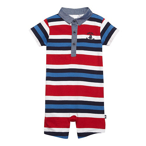 J by Jasper Conran - Designer babies blue block striped polo romper suit
