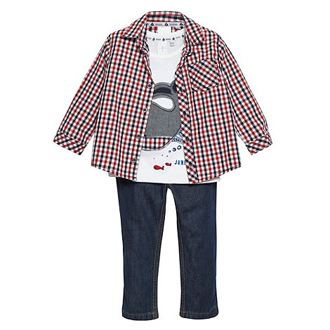 J by Jasper Conran - Designer babies red checked shirt t-shirt and jeans set