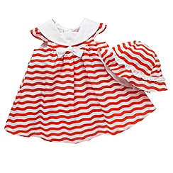J by Jasper Conran - Designer Babies orange wave striped dress and hat set
