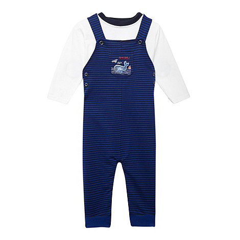 J by Jasper Conran - Designer babies blue striped dungarees and top set
